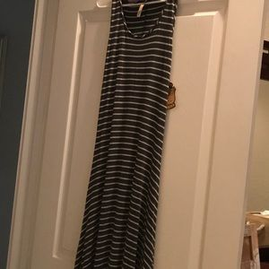 Grey and white stripped maxi dress